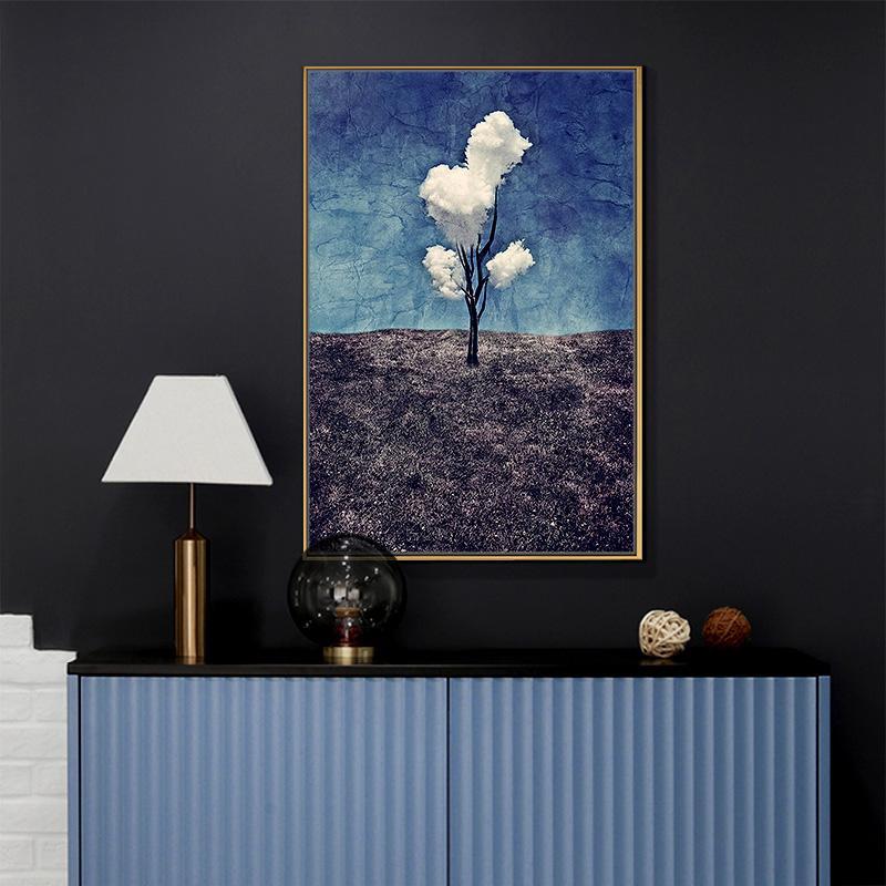 現代簡約裝飾畫玄關油畫走廊過道抽象掛畫豎版北歐客廳畫三朵白云