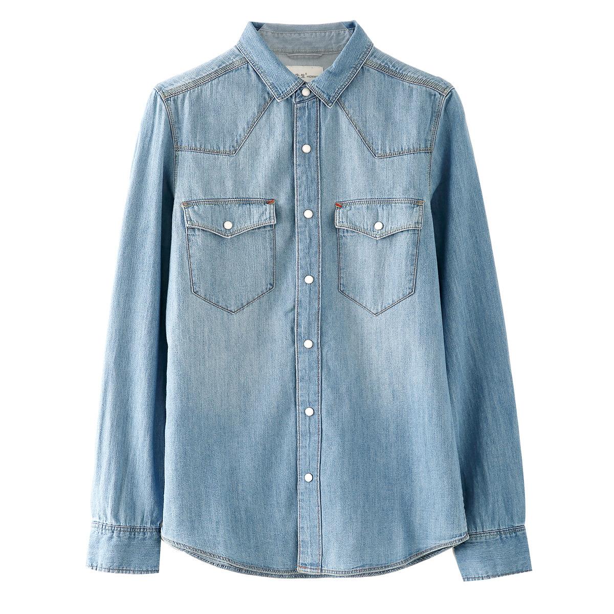 棉先生牛仔衬衫男 秋季男士牛仔衬衣长袖外套休闲修身寸衫男