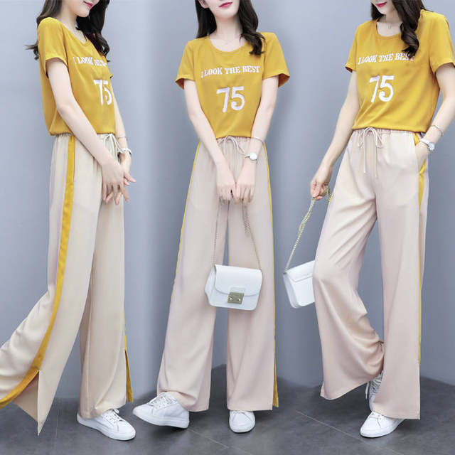 D summer new net red ins Wide Leg Pants Set women's foreign style, casual fashion, loose and thin T-shirt, 2-piece set