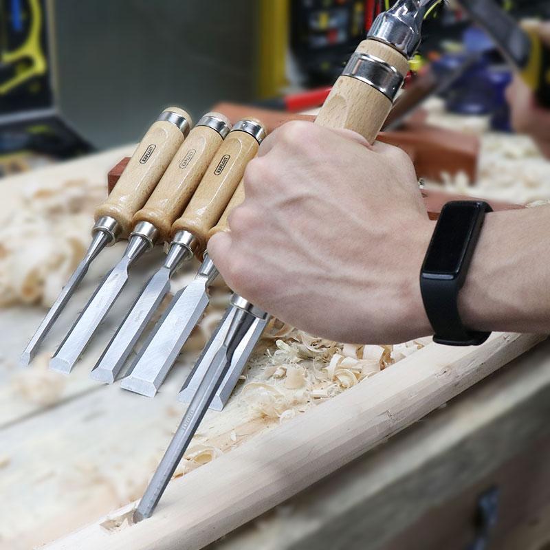 开拓 木工凿 铬钒合金钢锻造木柄凿 平凿 木工工具 061501