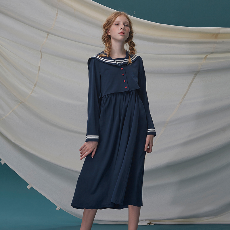 LLANO海军风韩版连衣裙日系女学生过膝水手服配大衣的长裙子春夏