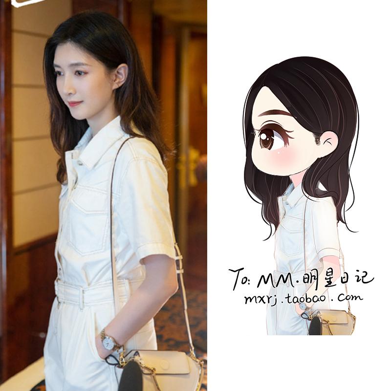三十而已江疏影王漫妮同款连体裤女白色短袖高腰休闲工装风套装