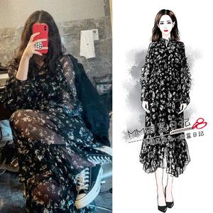 欧阳娜娜同款黑色碎花雪纺连衣裙超仙中长款2019流行印花裙子新款