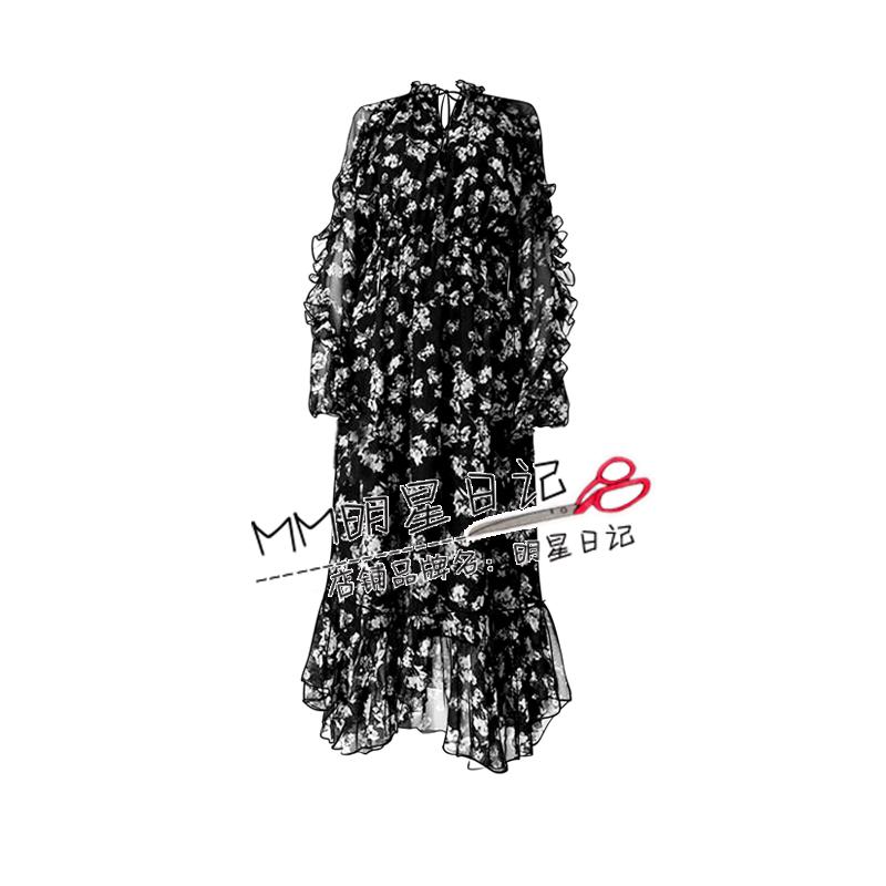 欧阳娜娜同款碎花雪纺连衣裙2020秋冬新款打底长裙收腰显瘦气质女主图