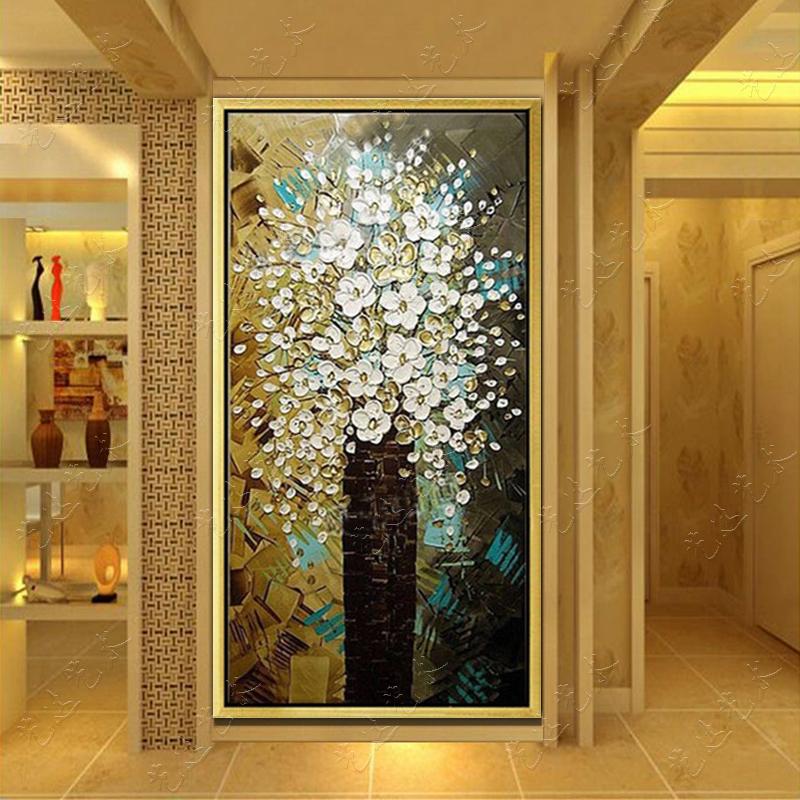 手绘油画发财树立体 家居玄关走廊挂画现代装饰画竖版 有框壁画