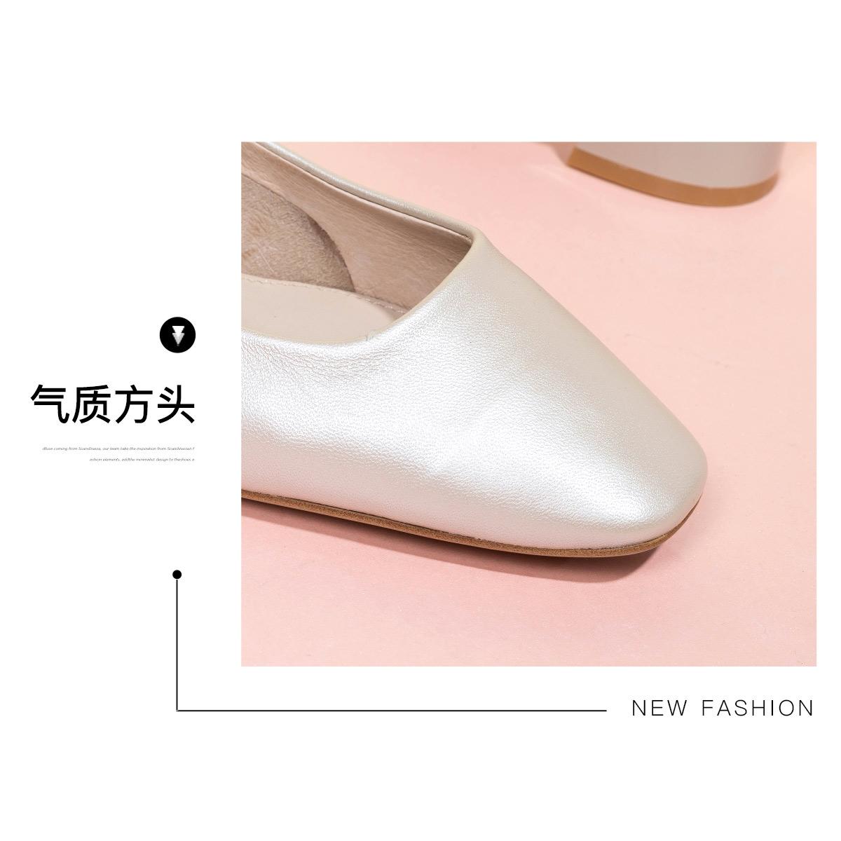 SS03111092 星期六春秋新款马蹄跟浅口单鞋时尚方头纯色通勤女鞋子