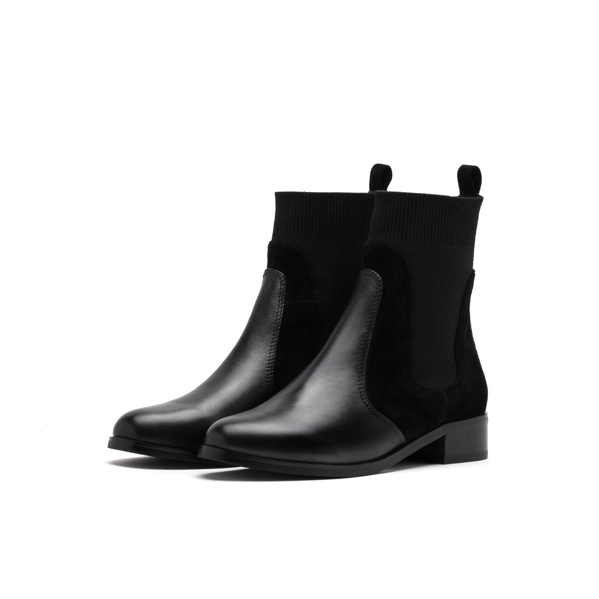 SS94116281 秋冬新款圆头低跟粗跟切尔西靴女靴 2019 星期六 Sat & St