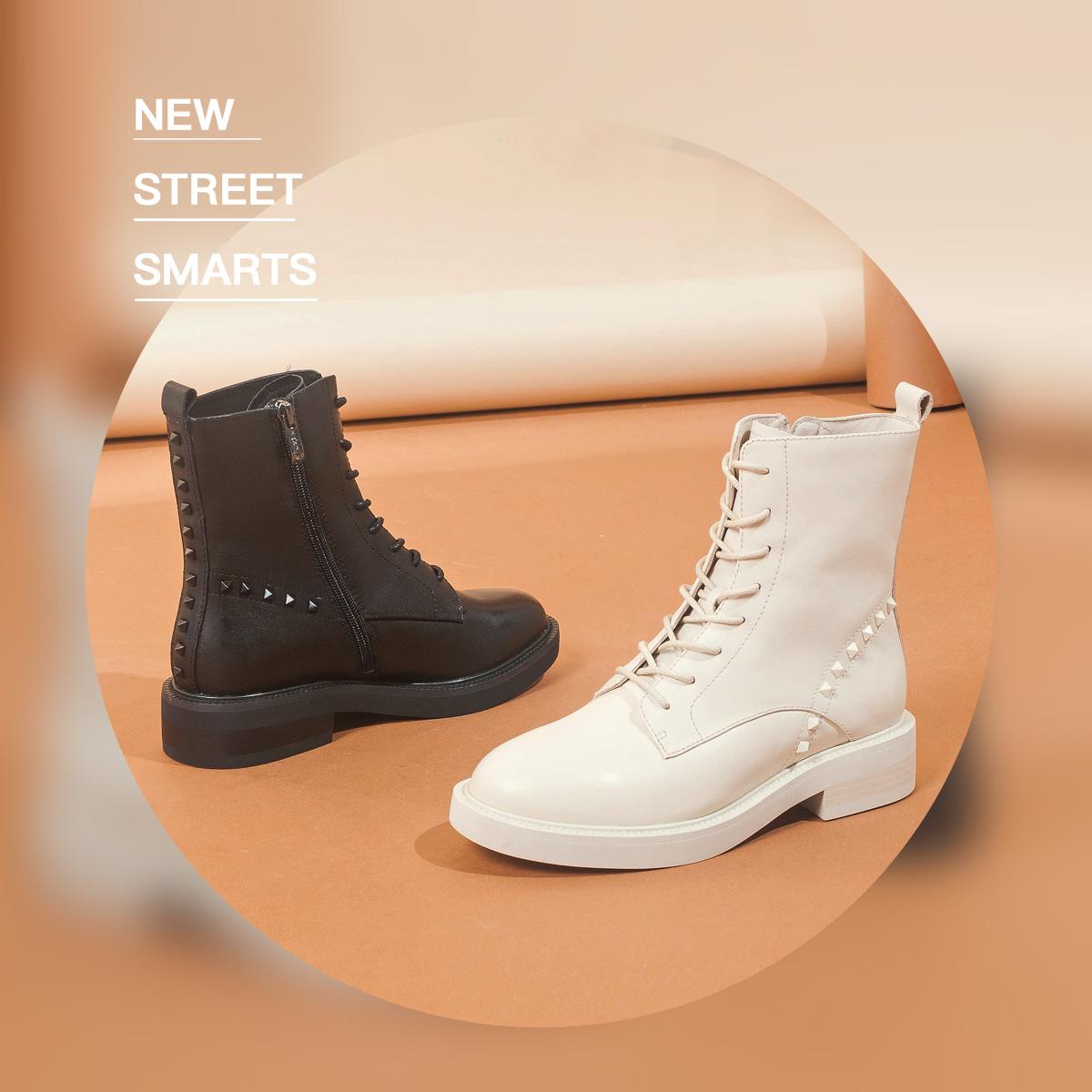 SS04116560 冬季新款女靴子纯色短筒圆头方跟潮流马丁靴 2020 星期六