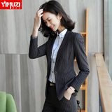Female president of professional package female striped suit spring fashion temperament Korean high-end women dress suit overalls