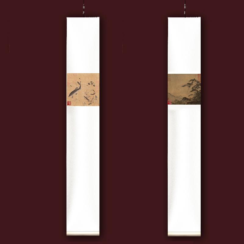 新中式畫宋代馬麟長松山水圖掛畫禪意留白卷軸畫