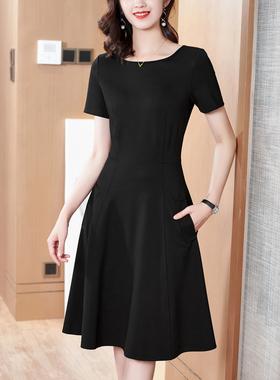 赫本风小黑裙2021夏季新款女收腰显瘦气质裙子黑色短袖A字连衣裙