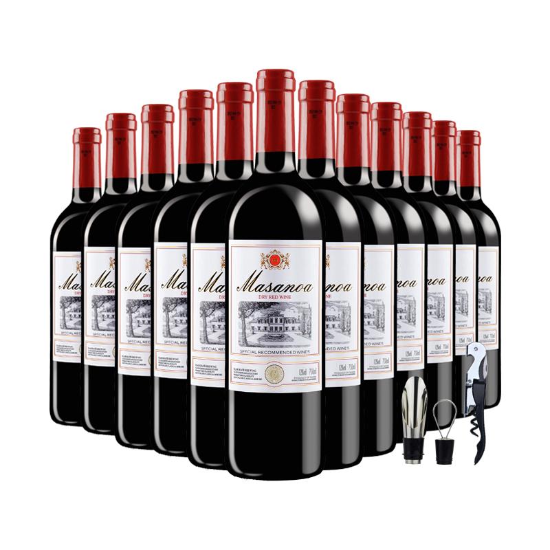 买一箱送一箱法国进口干红葡萄酒红酒整箱6支装六瓶正品送礼包邮