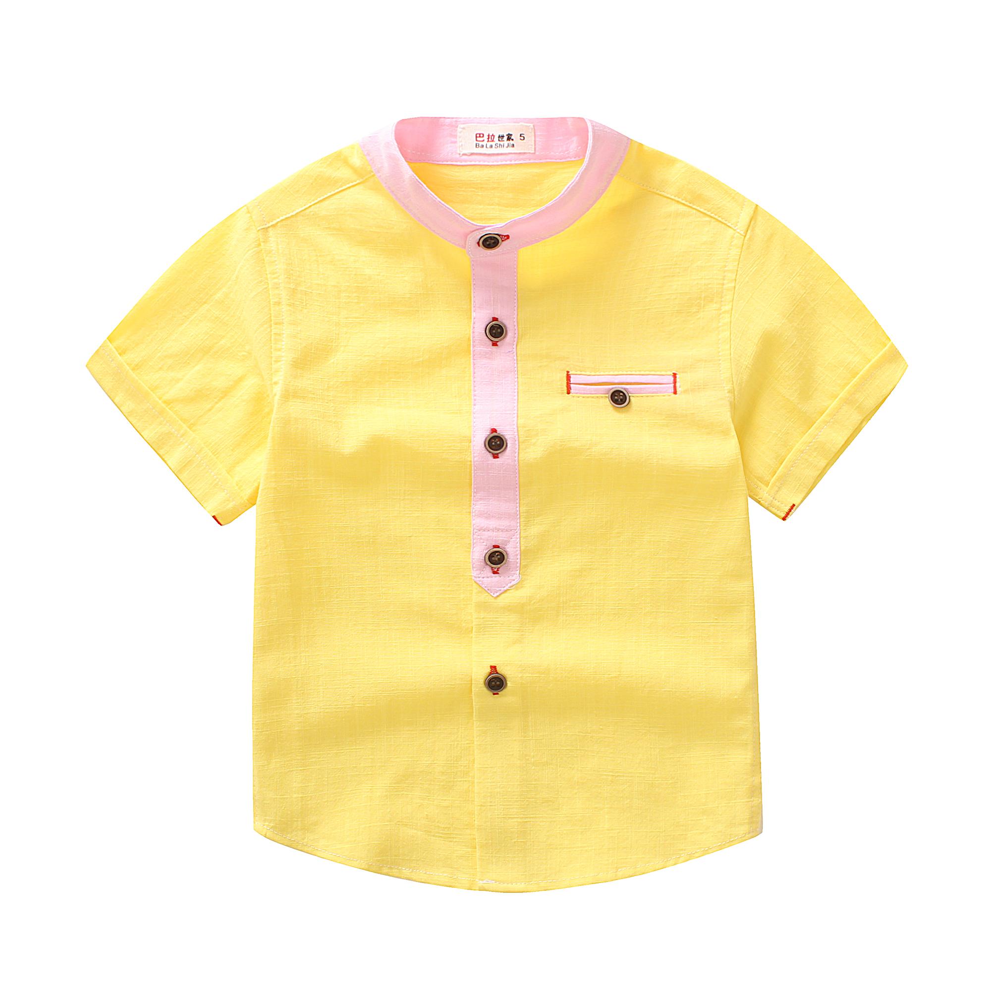 童装衬衫儿童衬衫短袖2017夏季新款男宝纯棉立领衬衣男宝宝衬衣