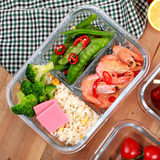 ICook 1 liter glass boxes with the partition 3 with microwave crisper compartment ruled lunch sealing cup 2