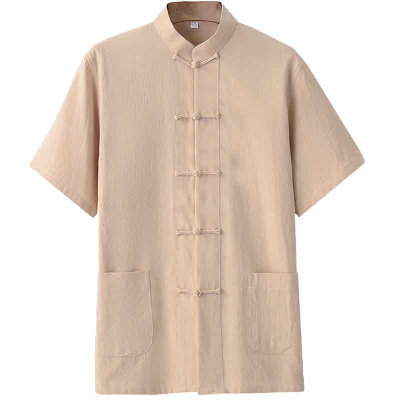 夏季青年短袖唐装男式衬衫纯棉中式盘扣汉服老年半袖居士上衣外套