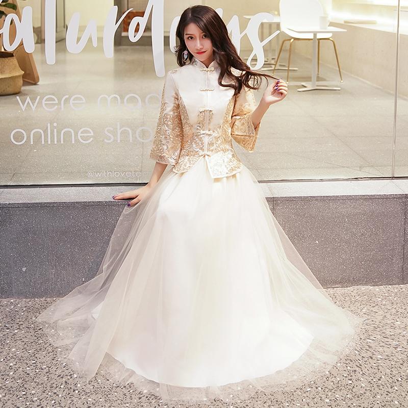 伴娘服2019新款夏季长款香槟金中式姐妹团礼服裙复古中国风演出服