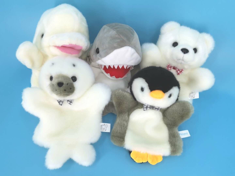 正版毛绒玩具动物大连海洋馆企鹅海豹北极熊鲨鱼白鲸婴儿安抚手偶
