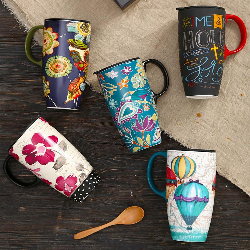爱屋格林大容量马克杯子陶瓷带盖咖啡创意早餐杯家用水杯定制情侣优惠券