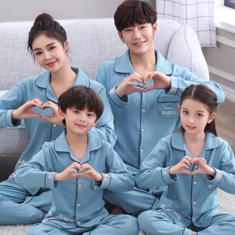 春秋季纯棉长袖亲子装睡衣儿童中大童家居服母女一家三口家庭套装