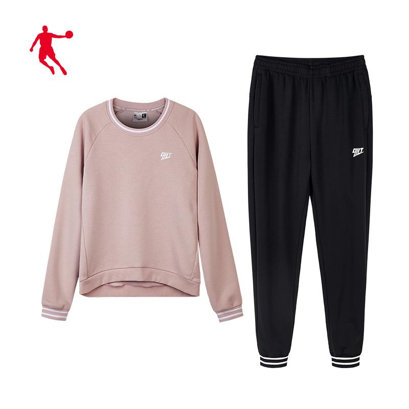 乔丹女装运动套装女2020春季新款健身圆领套头休闲运动服两件套女