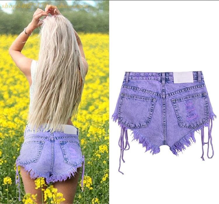 欧美风精品高腰排扣磨破双侧绑带女士马卡龙紫牛仔热裤蓝绿色短裤