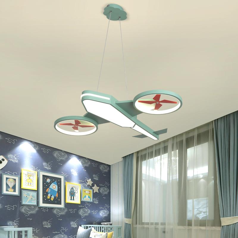 儿童房飞机灯温馨创意卡通灯具男孩卧室房间遥控吸顶吊灯 led 护眼
