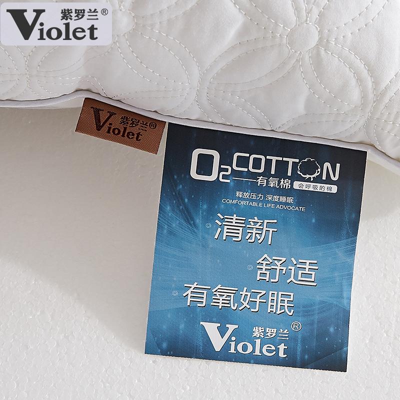 紫罗兰全棉枕头加纯棉枕套 单人学生枕芯套装成人枕芯一对拍2只