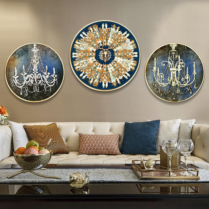 现代欧式美式沙发背景墙画样板间餐厅轻奢壁画玄关挂画客厅装饰画
