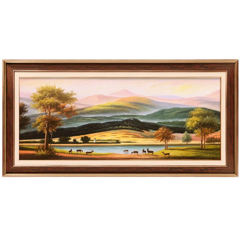 玄关装饰画欧式客厅餐厅壁画美式过道挂画风景巨人山定制手绘油画