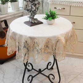 美式大圆桌桌布蕾丝圆形餐桌布艺小园茶几家用欧式正方形台布防尘