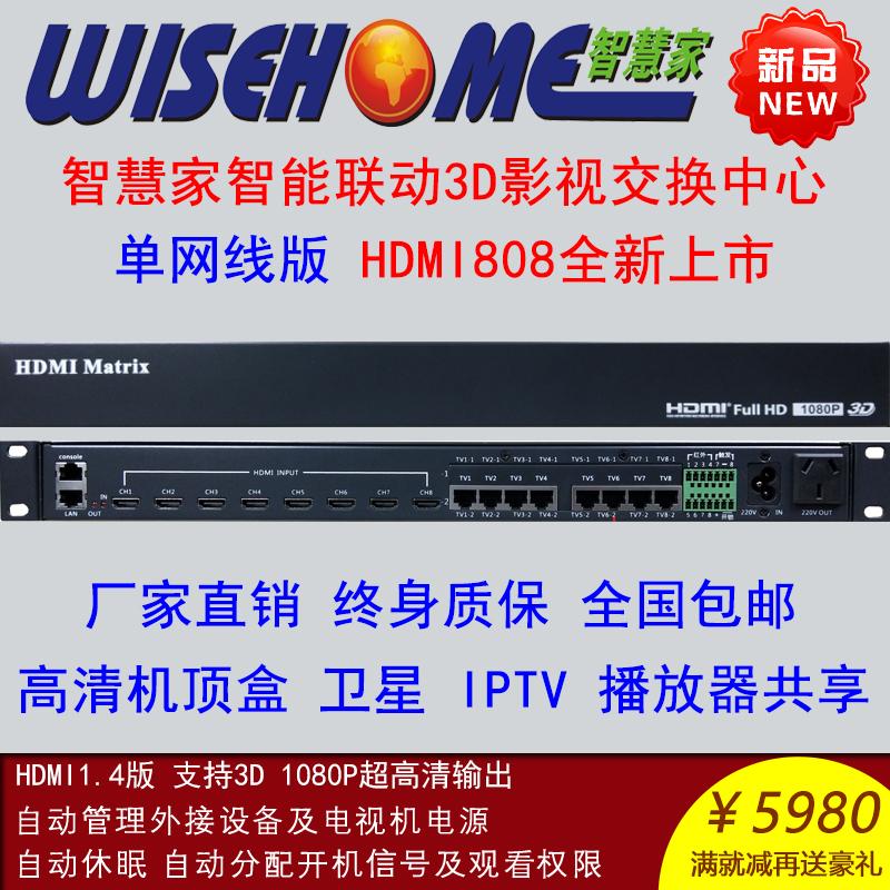 智慧家HDMI808 HM808 高清3D影音交換機頂盒共享器矩陣 智慧家居