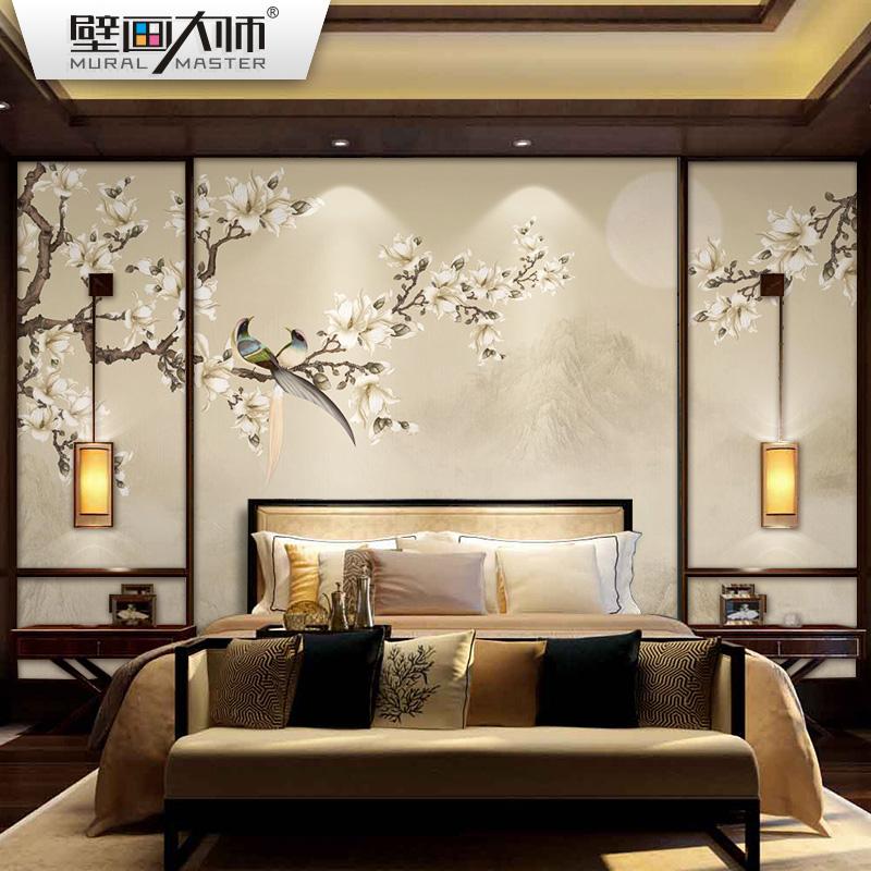 新中式电视背景墙纸壁纸花鸟卧室客厅3d无缝墙布影视墙壁纸壁画