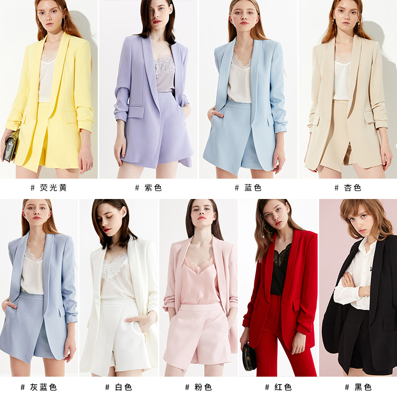 DPLAY德帕拉秋装新款时尚袖口褶皱设计简约通勤OL气质西装外套女