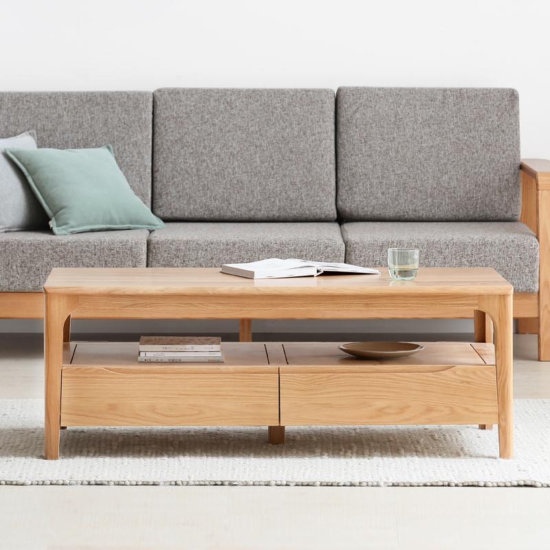 维莎日式全实木茶几小户型北欧咖啡桌现代环保橡木客厅茶桌新品
