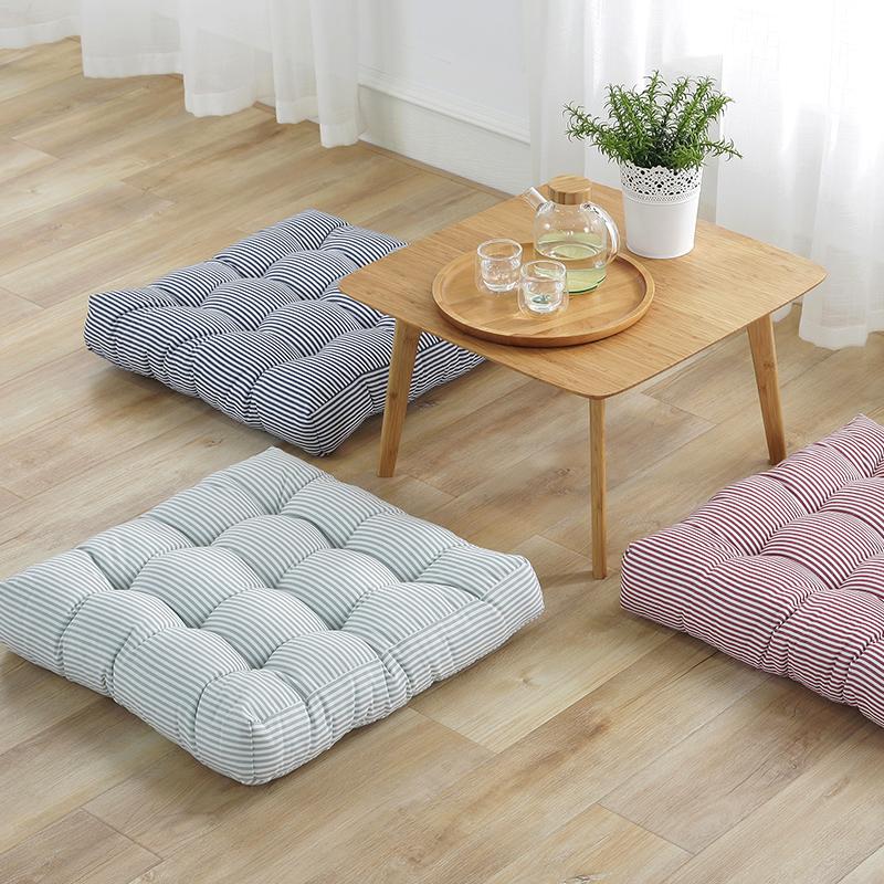 棉麻条纹坐垫现代简约餐椅垫榻榻米地板垫夏天加厚透气座垫垫子