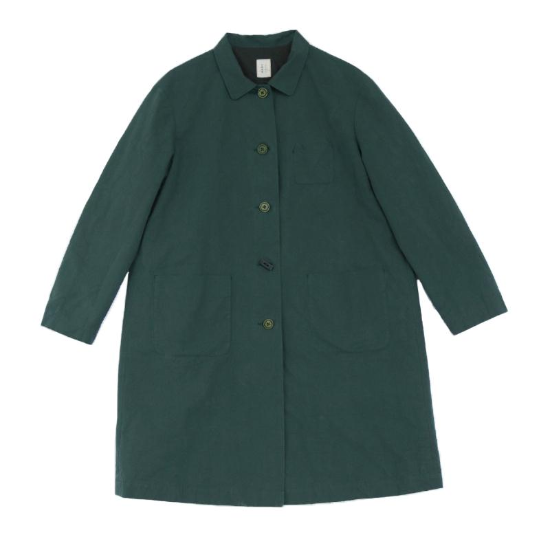 4312 壹旧原著秋款复古邮政绿纯棉结实帆布翻领单排扣宽松中款风衣