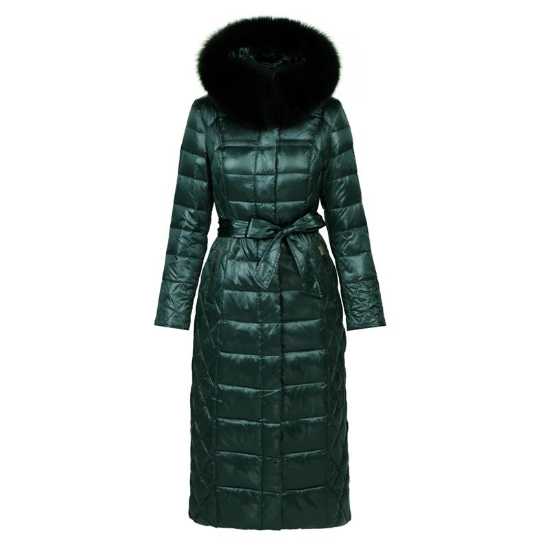 2019冬新款超长羽绒服女高端奢华过膝加厚修身显瘦白鸭绒时尚外套