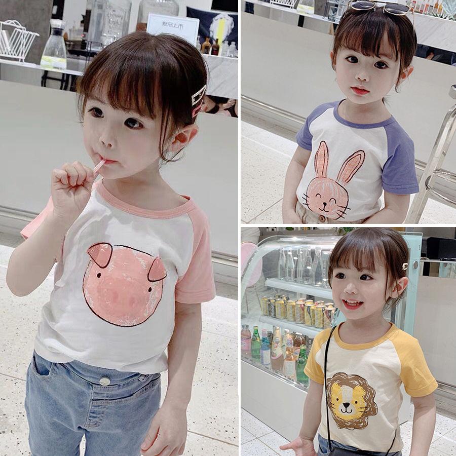 恤男童女孩半袖宝宝打底衫上衣韩版 夏季新款儿童装纯棉短袖  2021 T
