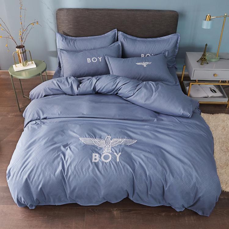 米床上用品 1.8 床單四件套 1.5 北歐網紅水洗棉磨毛刺繡被套純色 ins
