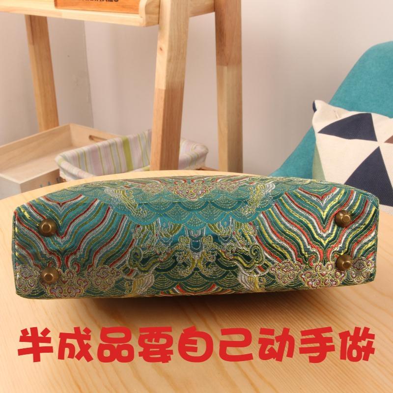 中国风DIY锦缎拎手20cm方形口金1片式包材料包汉服 旗袍手提包