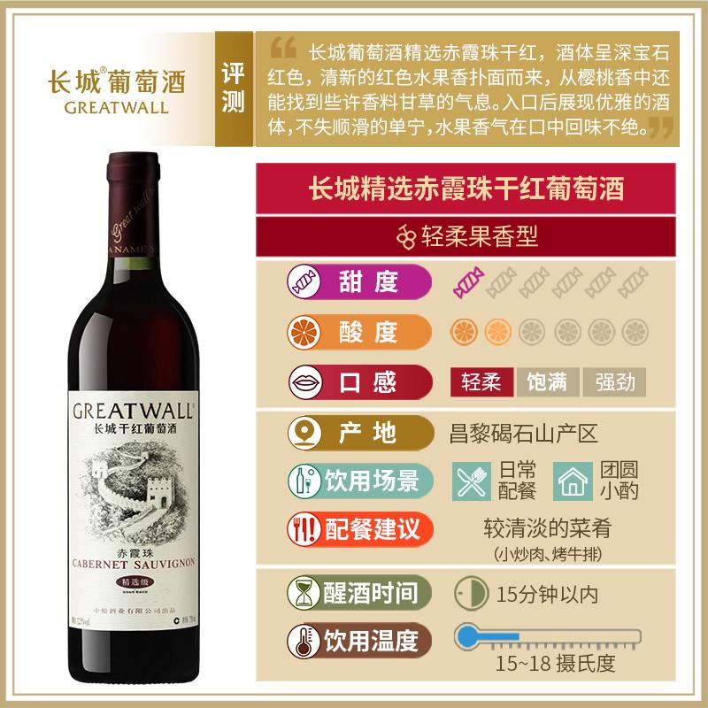 【官方正品】中粮长城干红葡萄酒 华夏长城精选赤霞珠6支红酒整箱