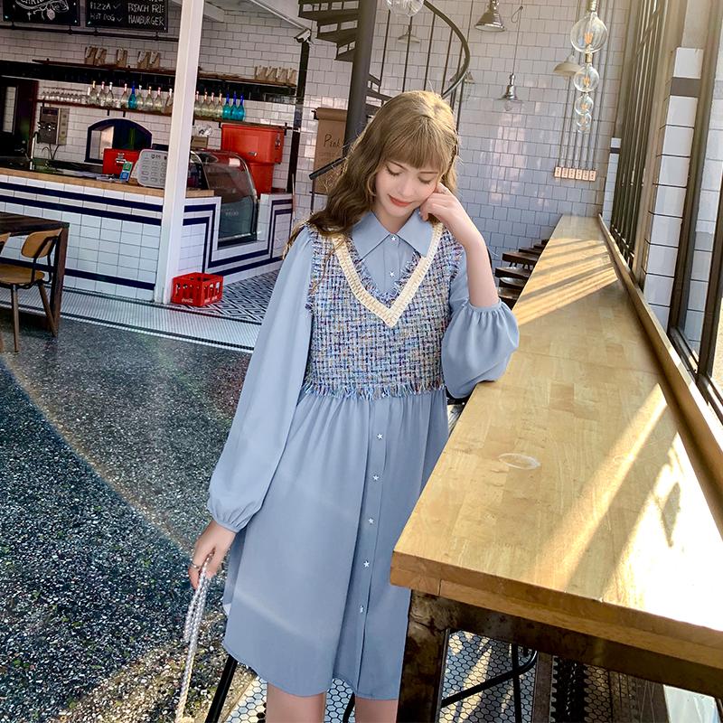年新款气质雪纺衬衫裙中长款仙女裙背心套装 小象连衣裙秋装  MG 2019