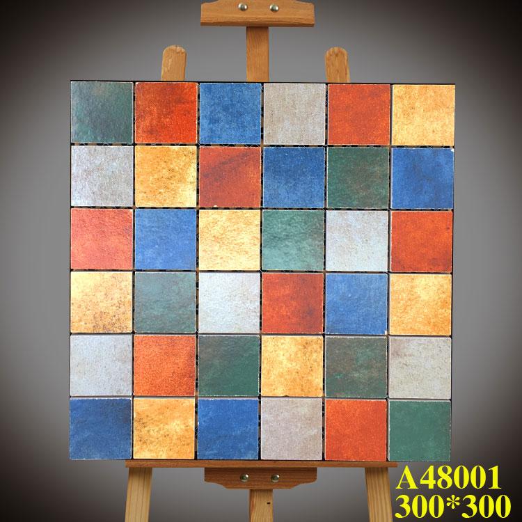 300x300地中海仿古五彩岩马赛克瓷砖田园美式乡村墙砖地砖
