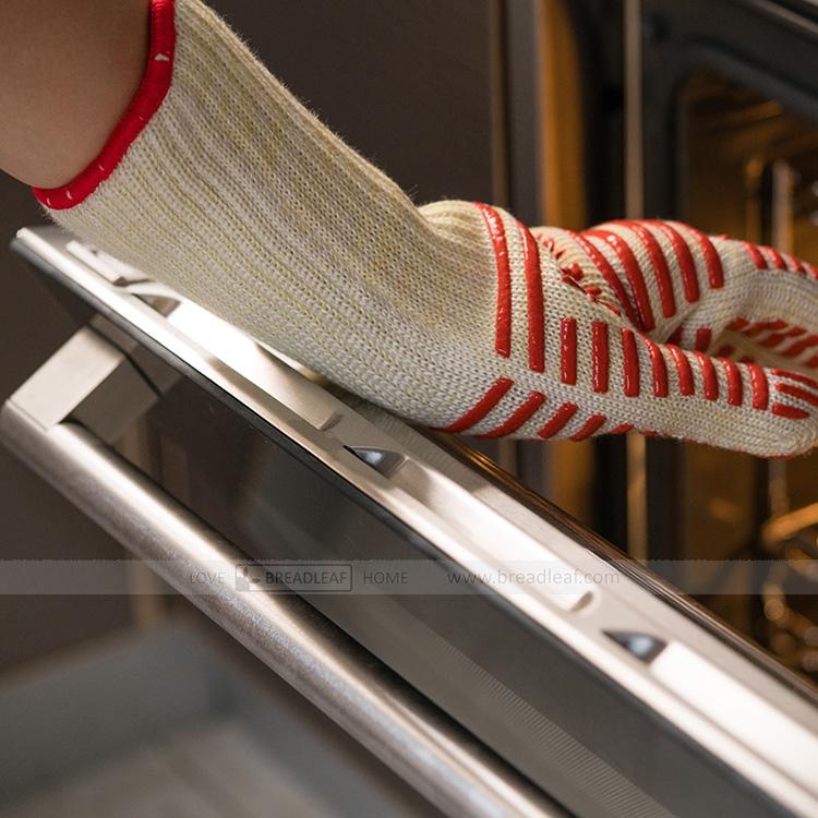 五指烤箱隔热手套 加厚款 微波炉防烫防护手套 烘焙 硅胶条纹 1只
