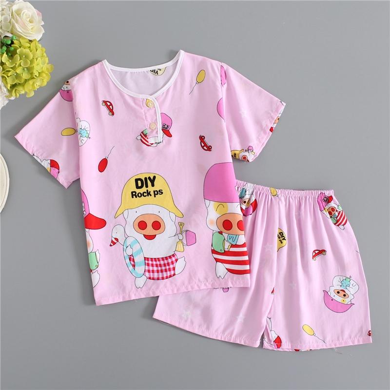 夏季儿童绵绸睡衣套装短袖短裤男孩女童小宝宝薄款棉绸家居服半袖