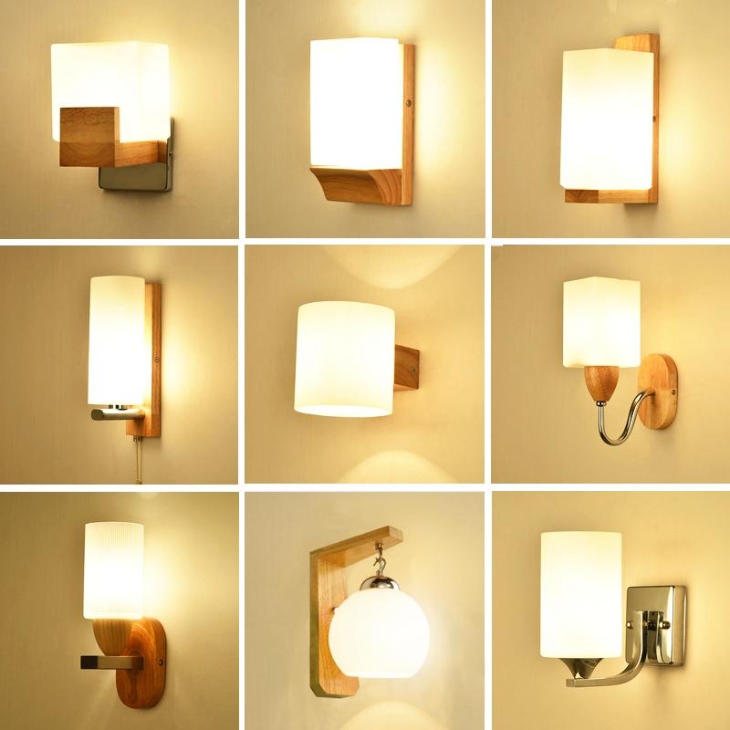 床头灯木艺壁灯现代简约酒店创意实木LED卧室过道灯走廊墙壁灯具
