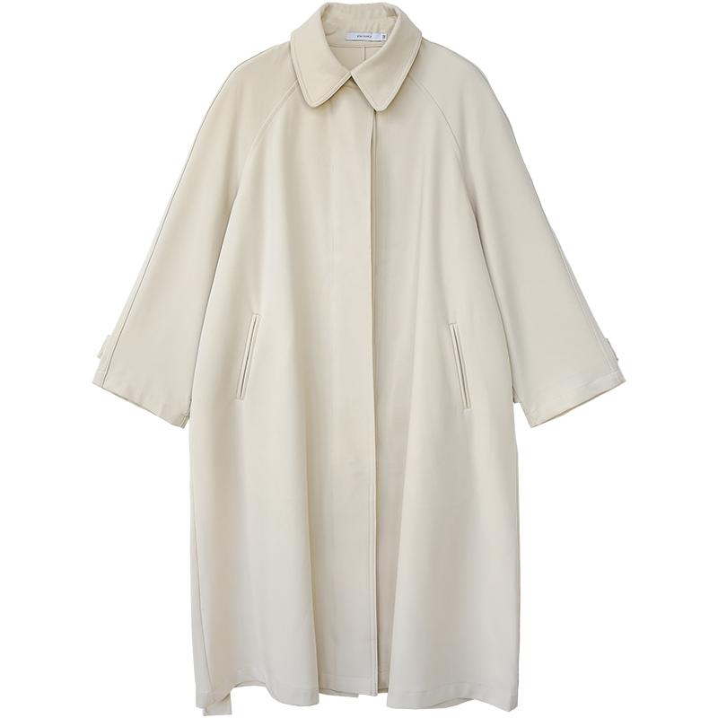 米色英伦风气质垂感腰带风衣女中长款  年新款秋季外套 2020 花吉 A533