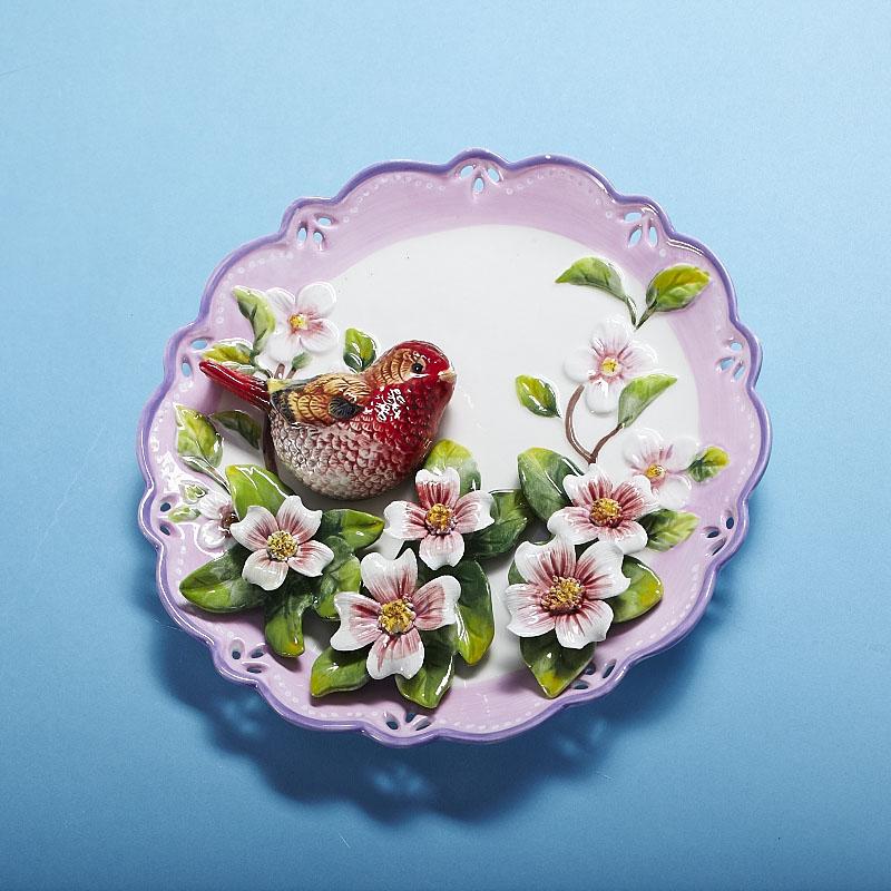 陶瓷浮雕彩绘装饰盘蓝鹊座盘红鹊坐盘灰鹊挂盘家居装饰品墙壁装饰