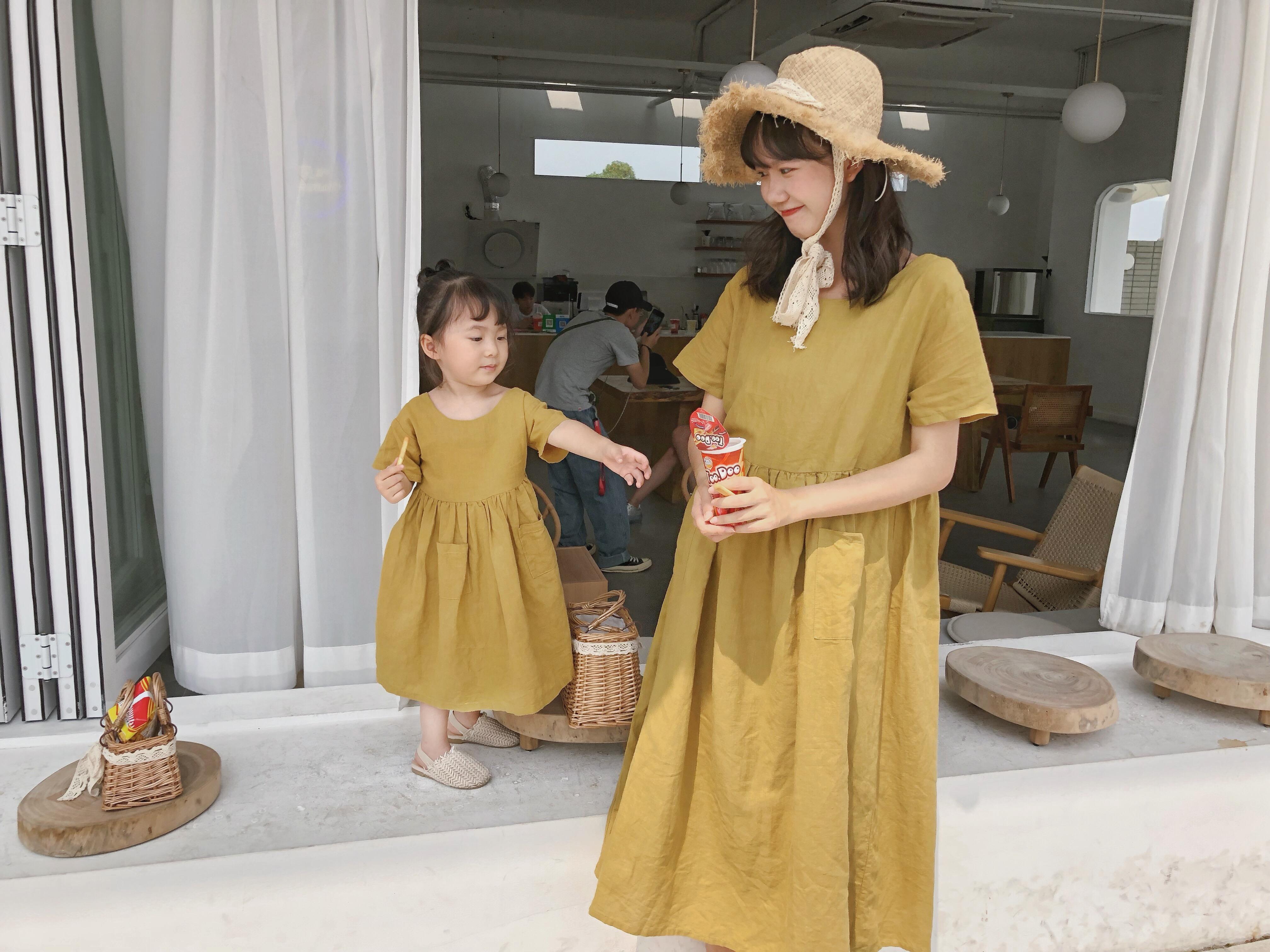 夏新款韩版超宽松亲子棉麻廓形款连身长裙 2019 女童宝宝连衣裙 ins