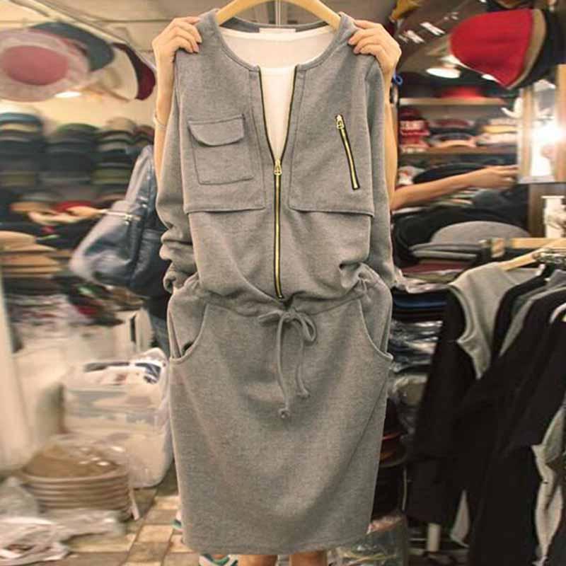 2021秋季新款女装显瘦长袖休闲宽松收腰裙子中长款时尚运动连衣裙